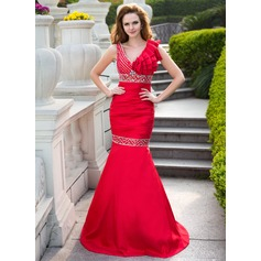 Trumpet/Mermaid V-neck Floor-Length Taffeta Prom Dress With Ruffle Beading