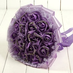Charming Round Foam/Ribbon Bridal Bouquets/Bridesmaid Bouquets -