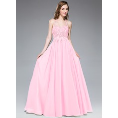 A-Line/Princess Halter Floor-Length Chiffon Prom Dress With Beading Sequins
