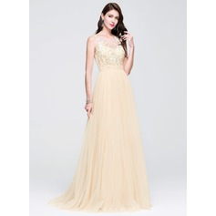 A-Line/Princess Scoop Neck Sweep Train Tulle Prom Dress With Beading Appliques Lace