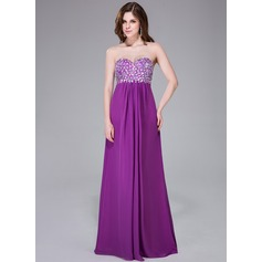Empire Sweetheart Sweep Train Chiffon Prom Dress With Beading Sequins