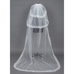 Three-tier Chapel Bridal Veils With Lace Applique Edge