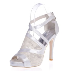 Women's Lace Satin Stiletto Heel Peep Toe Platform Sandals With Zipper Split Joint