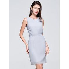 Sheath/Column Scoop Neck Short/Mini Chiffon Bridesmaid Dress With Ruffle Beading