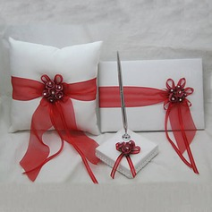 Ring Pillow With Guest Book and Pen Set (3 Pieces)(100017967)