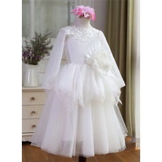 Ball Gown Floor-length Flower Girl Dress - Tulle Long Sleeves Scoop Neck With Appliques/Flower(s)
