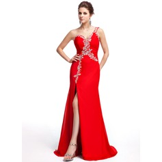 Trumpet/Mermaid One-Shoulder Sweep Train Chiffon Evening Dress With Beading Sequins Split Front