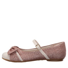 Girl's Sparkling Glitter Flat Heel Closed Toe Flats With Bowknot