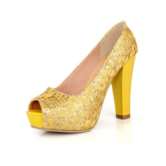 Women's Sparkling Glitter Chunky Heel Pumps Platform Peep Toe With Sparkling Glitter shoes
