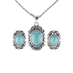 Vintage Alloy/Sterling Silver With Cat's Eye Ladies' Jewelry Sets