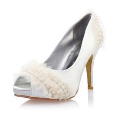 Women's Satin Stiletto Heel Peep Toe Platform Pumps With Imitation Pearl Stitching Lace
