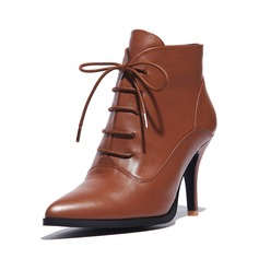 Real Leather Stiletto Heel Ankle Boots With Lace-up shoes