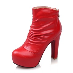 Women's Leatherette Stiletto Heel Boots Ankle Boots With Ruffles Zipper shoes