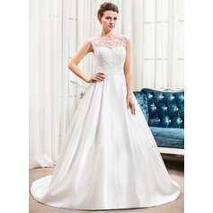 A-Line/Princess Scoop Neck Court Train Satin Lace Wedding Dress With Ruffle Beading Sequins