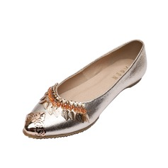Leatherette Flat Heel Flats Closed Toe With Sequin shoes