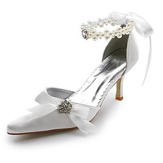 Kvinnor Satin Spool Heel Stängt Toe Pumps med Imitation Pärla STRASS Ribbon Tie