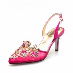 Couro verdadeiro Salto baixo Bombas Fechados Sapatos abertos com Strass sapatos