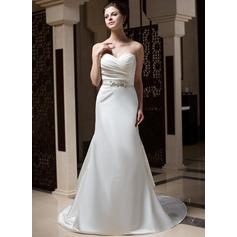 Trumpet/Mermaid Sweetheart Court Train Satin Wedding Dress With Ruffle Beading Sequins