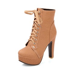 Women's Leatherette Chunky Heel Platform Closed Toe Ankle Boots shoes