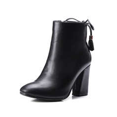 Women's Leatherette Chunky Heel Pumps Closed Toe Ankle Boots With Zipper Lace-up shoes