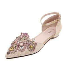 Women's Cloth Flat Heel Flats Closed Toe With Rhinestone shoes