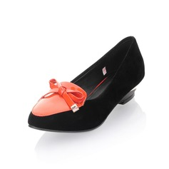 Patent Leather Velvet Wedge Heel Closed Toe Flats With Bowknot