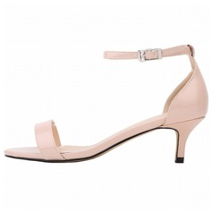 Women's Patent Leather Low Heel Sandals Peep Toe shoes