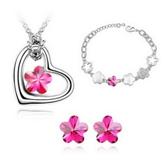 Flower Shaped Alloy/Crystal Ladies' Jewelry Sets
