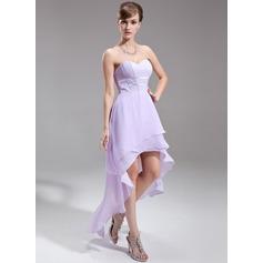 A-Linie/Princess-Linie Herzausschnitt Asymmetrisch Chiffon Festliche Kleid