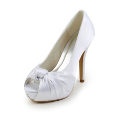 Satin Stiletto Heel Peep Toe Platform Pumps Wedding Shoes With Bowknot Ruched (047026403)