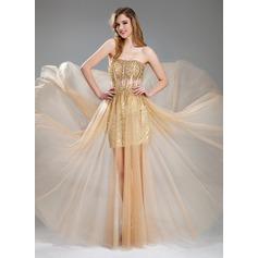Corte A/Princesa Escote corazón Hasta el suelo Tul Con lentejuelas Vestido de baile de promoción con Bordado