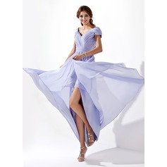 A-Line/Princess V-neck Asymmetrical Chiffon Prom Dress With Ruffle