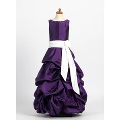 Ball Gown Floor-length Flower Girl Dress - Taffeta Sleeveless Scoop Neck With Ruffles/Sash/Beading/Pick Up Skirt