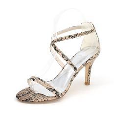 Frauen Kunstleder Stöckel Absatz Peep Toe Absatzschuhe Sandalen mit Schnalle Nachahmungen von Perlen Tierdruckmuster (047102129)