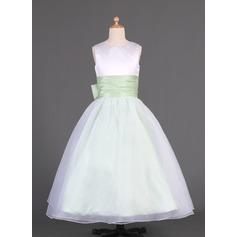 A-Line/Princess Floor-length Flower Girl Dress - Organza/Charmeuse Sleeveless Scoop Neck With Sash/Bow(s)
