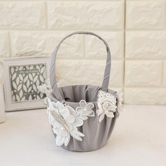 Beautiful Flower Basket in Satin With Flower