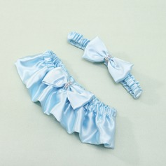 Satin With Bowknot Wedding Garters (104019475)