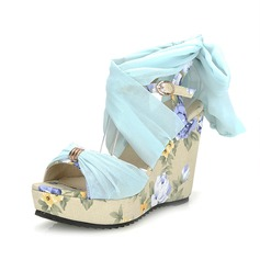 Leatherette Wedge Heel Sandals Peep Toe With Buckle shoes
