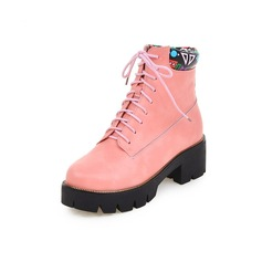 Women's Leatherette Chunky Heel Martin Boots shoes