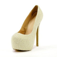 Rubber Stiletto Heel Closed Toe Platform Pumps With Imitation Pearl
