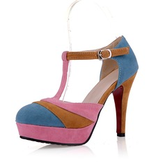 Suede Stiletto Heel Pumps Platform Closed Toe With Buckle shoes