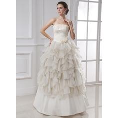 Balklänning Axelbandslös Golvlång Chiffong Satäng Bröllopsklänning med Rufsar Spetsar Blomma (or) Svallande Krås