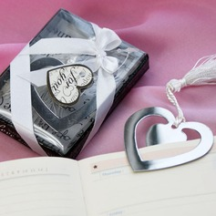 """Love Story"" Heart Shaped Stainless Steel Bookmarks & Letter Openers With Ribbons/Tassel"