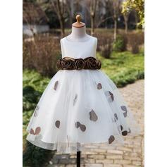 Ball Gown Tea-length Flower Girl Dress - Satin/Tulle Sleeveless Scoop Neck With Flower(s)/Bow(s)