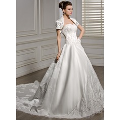 Ball-Gown Sweetheart Cathedral Train Satin Wedding Dress With Beading Appliques Lace Flower(s) Sequins