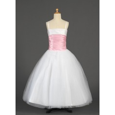 Ball Gown Short/Mini/Floor-length Flower Girl Dress - Tulle/Charmeuse Sleeveless Straps With Sash