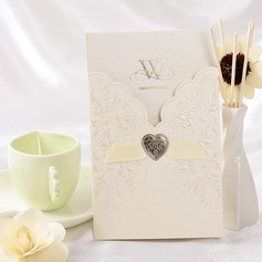 Floral Style Wrap & Pocket Invitation Cards With Ribbons  (114032374)