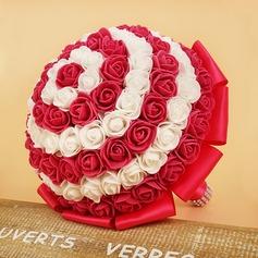 Charming Round Foam/Ribbon Bridal Bouquets/Bridesmaid Bouquets -