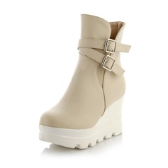 Women's Leatherette Wedge Heel Wedges Boots Ankle Boots shoes