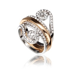 Beautiful Alloy/Rhinestones/Gold Plated Ladies' Rings